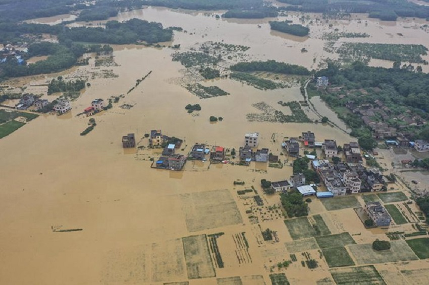 The Guangdong province town of Yonghan was flooded on June 9. 2020 Photo China News Service